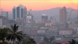 The Ugandan capital Kampala at sunset