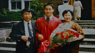 Ron Kim with his parents at his high school graduation (photo courtesy of Ron Kim)