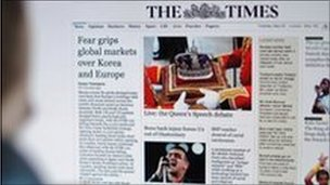 Times website homepage