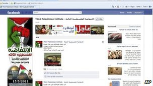 A screen grab said to show the Third Palestinian Intifada Facebook page before its removal