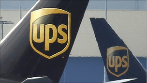 Tail fins of United Parcel Service (UPS) cargo planes.