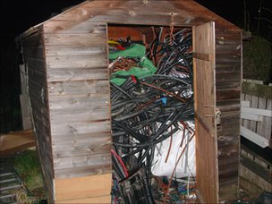 Shed packed full of stolen railway cables