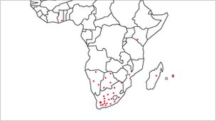 Map of South African SKA network