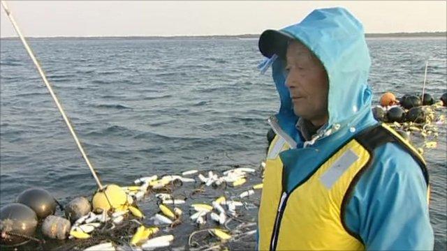 Seaweed farmer Kazuhiro Ogawa