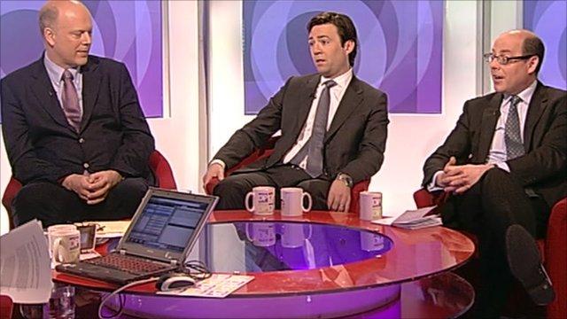 Chris Grayling, Andy Burnham and Nick Robinson