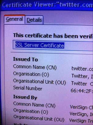 SSL certificate details page