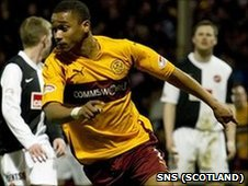 Chris Humphrey celebrates scoring for Motherwell against Dundee United
