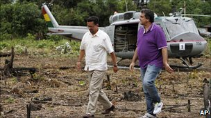 Brazilian Justice Minister Jose Eduardo Cardozo (right) and Bolivian interior minister Sacha Llorenti visiting a coca eradication operation in Bolivia.