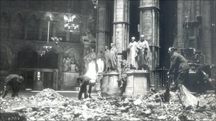 Damaged Westminster Abbey