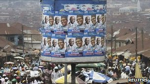 Posters of former military ruler Muhammadu Buhari and his running mate Tunde Bakare at Mapo square, Ibadan, south-west Nigeria March 14, 2011