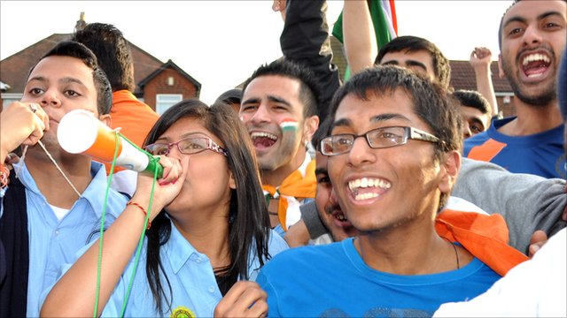 Cricket fans in Leicester celebrate India's World Cup win over rivals Pakistan