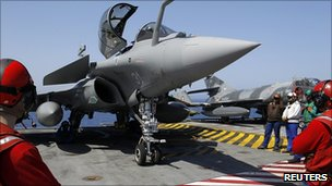 Rafale fighter jet on aircraft carrier  Charles de Gaulle. 28 March 2011