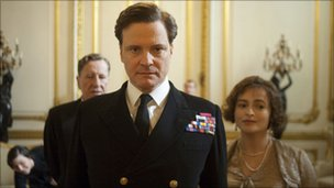 Colin Firth with Geoffrey Rush (l) and Helena Bonham Carter in The King's Speech