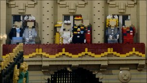 Lego figures enact the royal wedding balcony scene