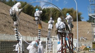 Tepco workers at the Fukushima plant