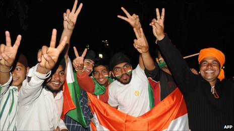 Indian cricket fans celebrate the win over Pakistan