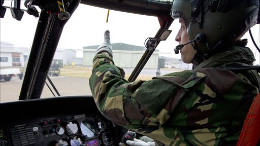 Prince William in the cockpit of RAF helicopter