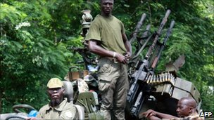 Pro-Ouattara forces in Duekoue, west Ivory Coast on 29 March 2011 