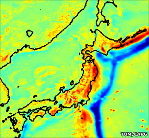 Japan trench gravity image