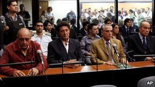 Raul Guglielminetti, Honorio Ruiz, Eduardo Ruffo and Eduardo Cabanillas sit in court before their sentencing in Buenos Aires