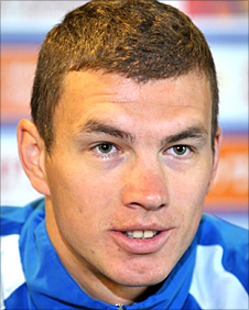 Edin Dzeko in Bosnian colours