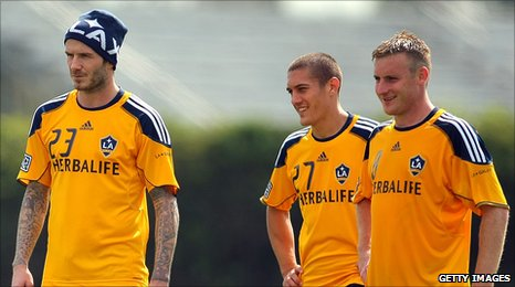 David Beckham and Chris Birchall involved in training at LA Galaxy