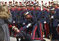 A member of the honour guard collapses in Madrid