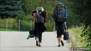 Backpackers on road