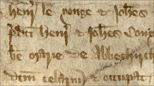 John de Yonge's complaint in Assize of Nuisance, stored in London Metropolitan Archives