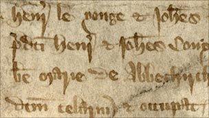 John de Yonge's complaint in Assize of Nuisance, stored in London Metropolitan Archives