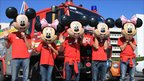 The Follow That Fire Engine and some crew members in Disneyland, California, US. Copyright of followthatfireengine.com