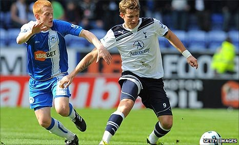 Spurs' Roman Pavlyuchenko tries to get away from Ben Watson at Wigan