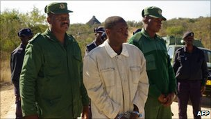 David Simelane (C) escorted by police - photo June 2008