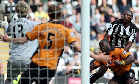Shola Ameobi scores for Newcastle