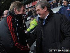 Liverpool boss Kenny Dalglish (left) and WBA manager Roy Hodgson