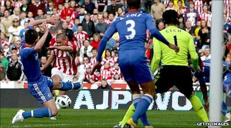 Jonathan Walters strikes for goal