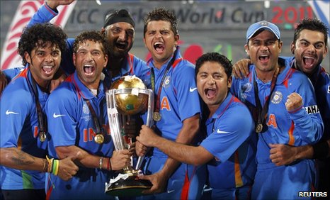India celebrate their World Cup win