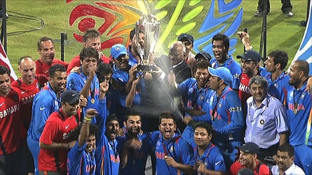 India celebrate winning the Cricket World Cup