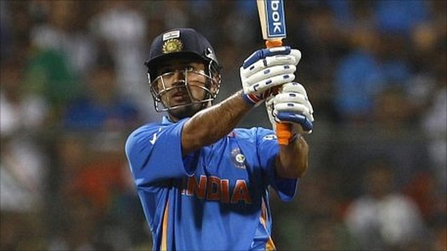 Mahendra Singh Dhoni hits a six off the last ball