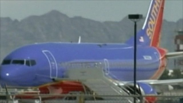 Southwest plane with hole in roof