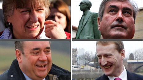 (Clockwise from top left) Annabel Goldie, Iain Gray, Alex Salmond and Tavish Scott