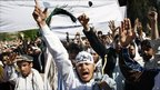 Afghan protesters shout anti-US slogans in Jalalabad, Afghanistan on 3 April 2011.