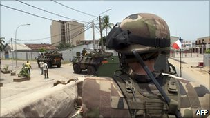 French troops patrolling in Abidjan - 2 April