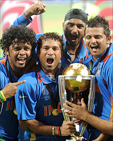 Sachin Tendulkar celenbrates with the Cricket World Cup trophy