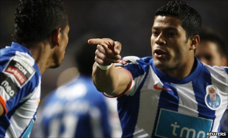 "Fredy Guarin celebrates his goal against Benfica with his team-mate Givanildo ""Hulk"" Souza"