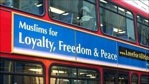 """""""Muslims for loyalty, peace and freedom"""" slogan on a London bus"""