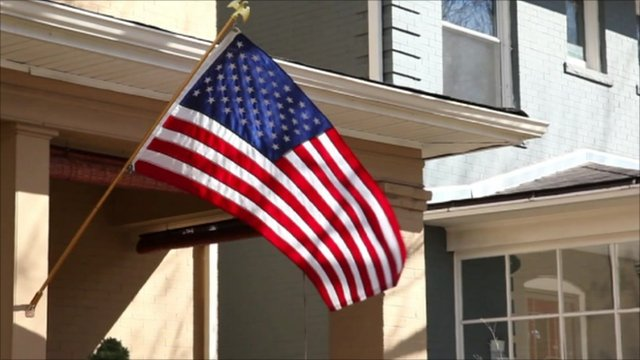 US flag on house