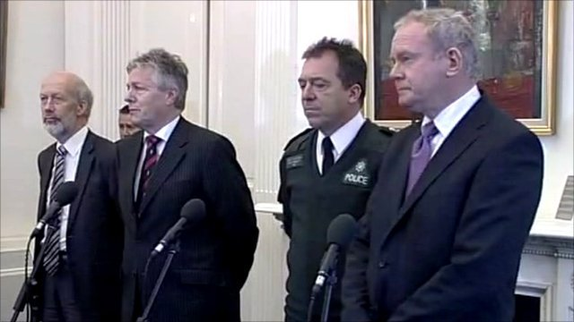 Peter Robinson, Martin McGuinness, David Ford and Chief Constable Matt Baggott 