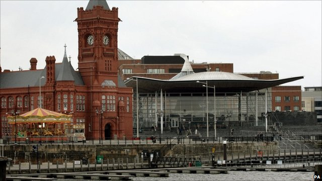 Welsh National Assembly Senedd building in Cardiff