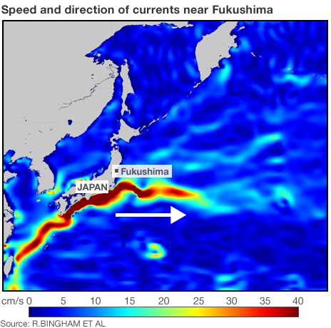 Kuroshio Current - Colour show water speed.  Blue slowest; red fastest